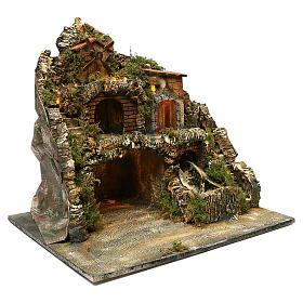 Borgo roccioso mulino e cascata 45x50x40 cm presepe napoletano s3