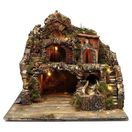 Borgo roccioso mulino e cascata 45x50x40 cm presepe napoletano 1