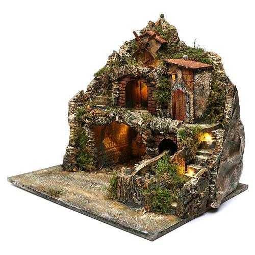 Borgo roccioso mulino e cascata 45x50x40 cm presepe napoletano 2