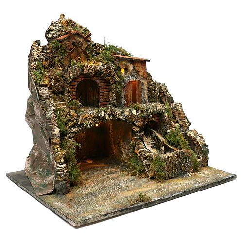 Borgo roccioso mulino e cascata 45x50x40 cm presepe napoletano 3