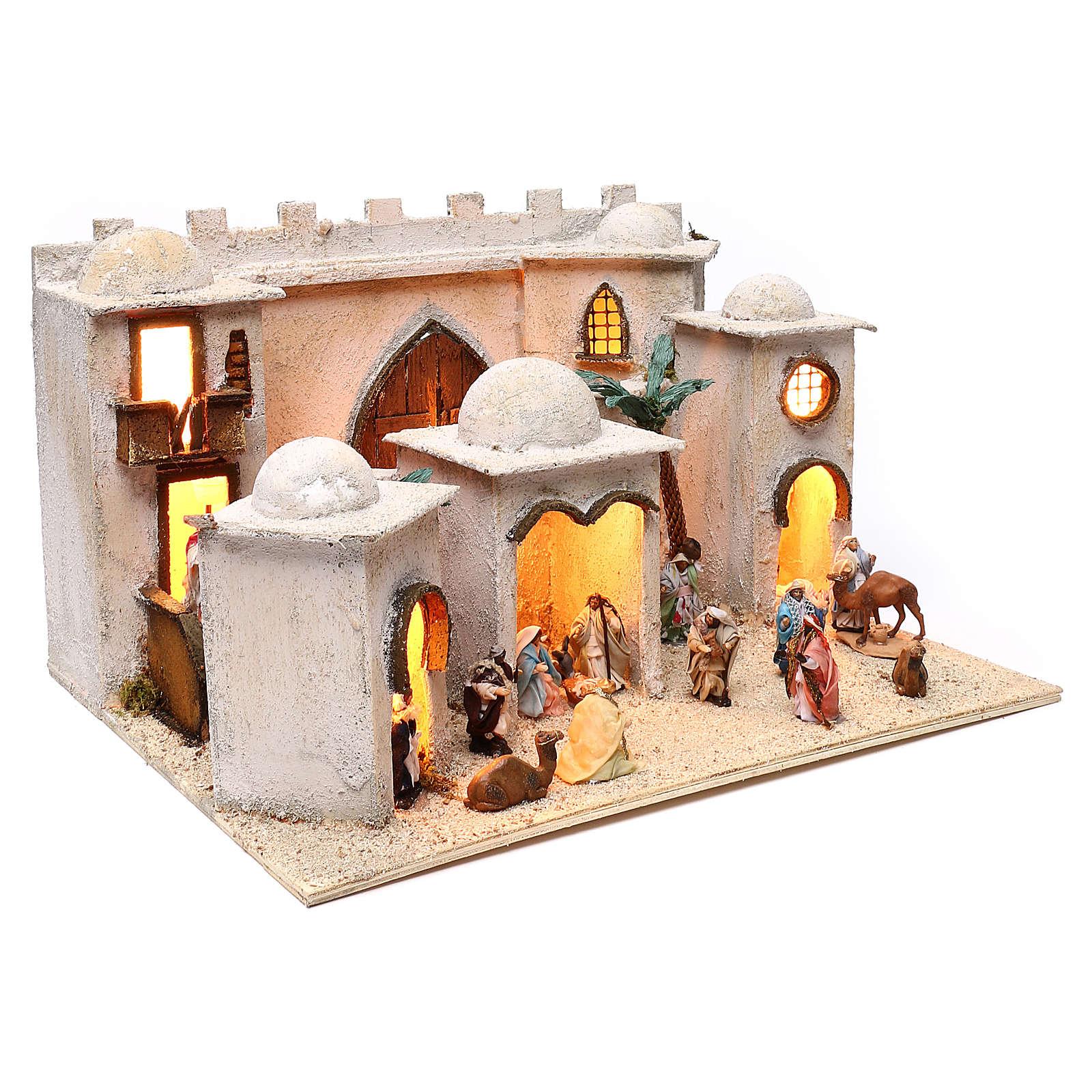 Borgo arabo dimensioni 30x50x40 cm completo di personaggi presepe Napoli 4