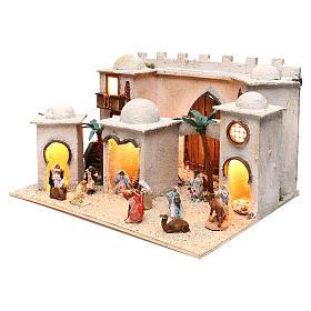 Borgo arabo dimensioni 30x50x40 cm completo di personaggi presepe Napoli s2
