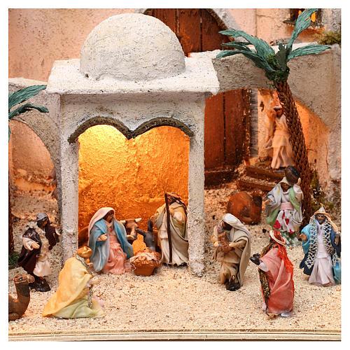Borgo arabo dimensioni 30x50x40 cm completo di personaggi presepe Napoli 5
