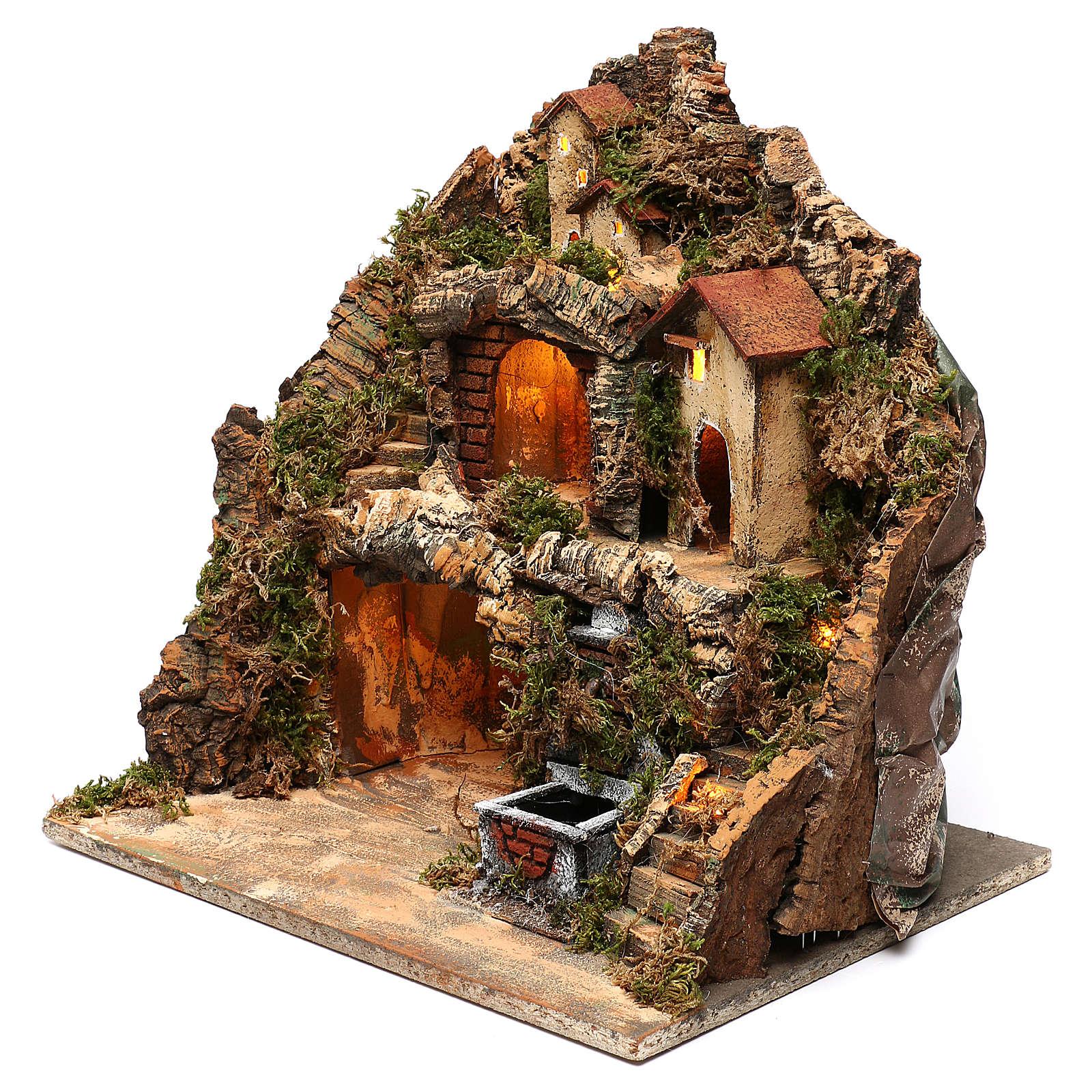 Pueblo con fuente y cueva belén napolitano 40x40x30 cm 4