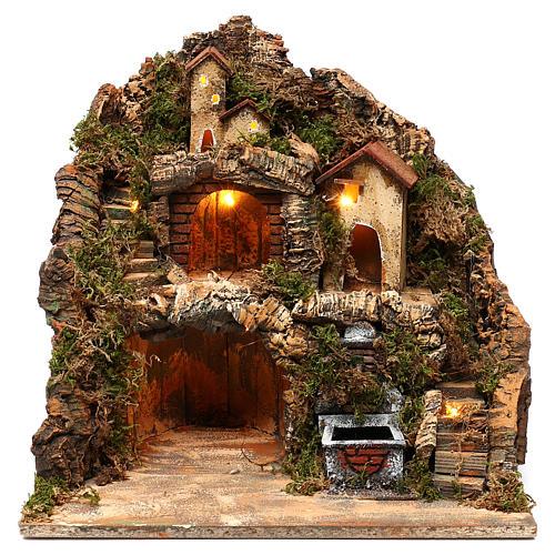 Pueblo con fuente y cueva belén napolitano 40x40x30 cm 1