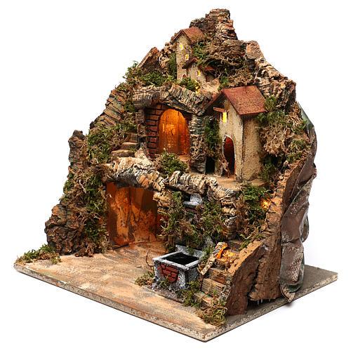 Pueblo con fuente y cueva belén napolitano 40x40x30 cm 2