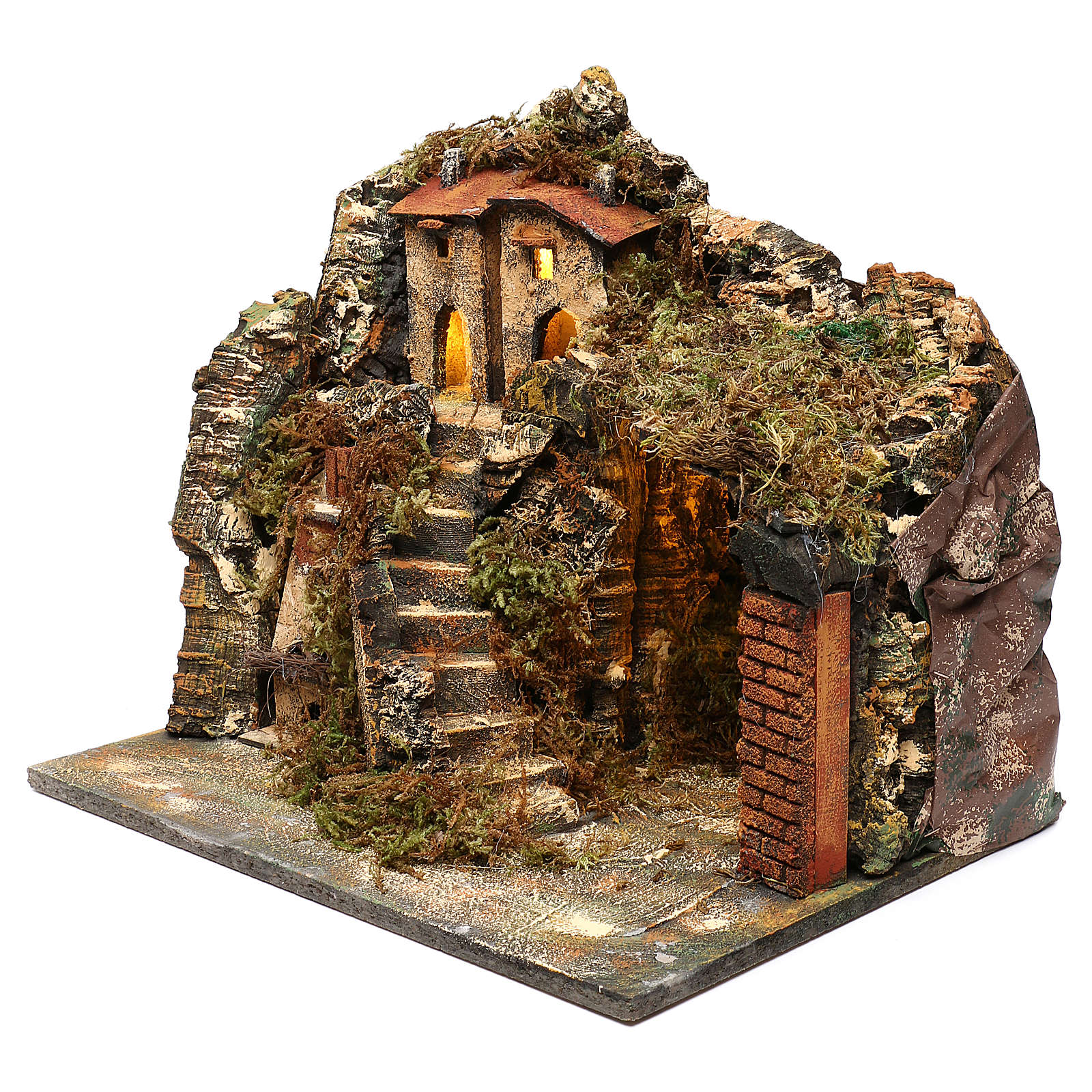 Pueblo con escalera y horno 35x40x30 cm belén napolitano 4