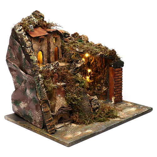 Borgo con scalinata e forno 35x40x30 cm presepe napoletano 3