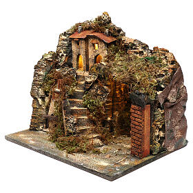 Nativity scene setting, village with stairs and oven 35x40x30 cm s2
