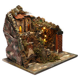 Nativity scene setting, village with stairs and oven 35x40x30 cm s3