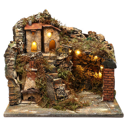 Nativity scene setting, village with stairs and oven 35x40x30 cm 1