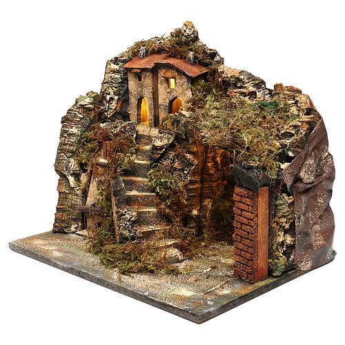 Nativity scene setting, village with stairs and oven 35x40x30 cm 2