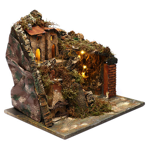 Nativity scene setting, village with stairs and oven 35x40x30 cm 3