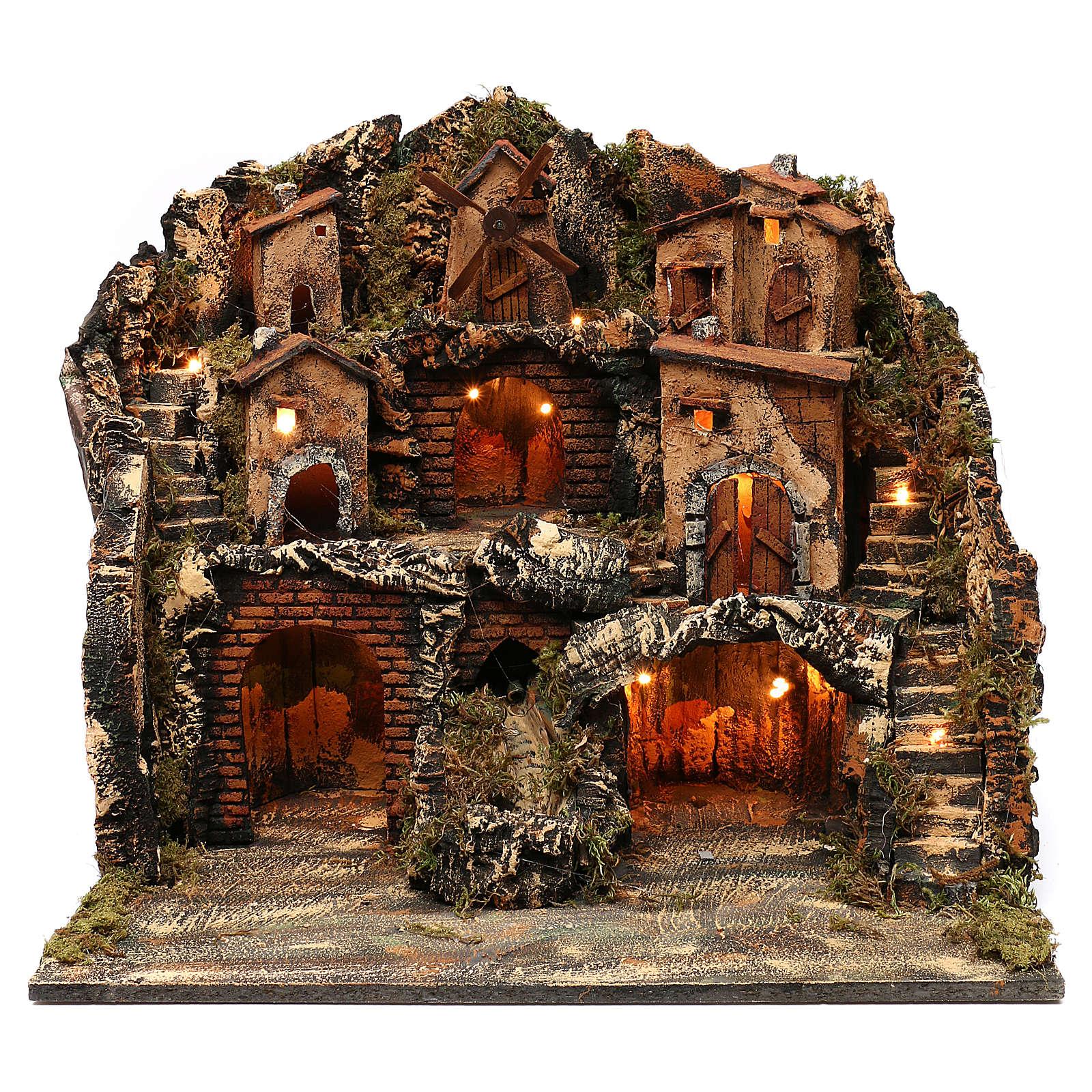 Borgo tre piani mulino e cascata presepe napoletano 50x50x40 cm 4