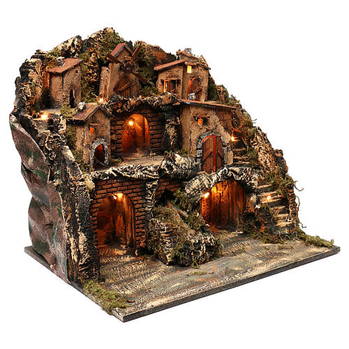 Borgo tre piani mulino e cascata presepe napoletano 50x50x40 cm 3