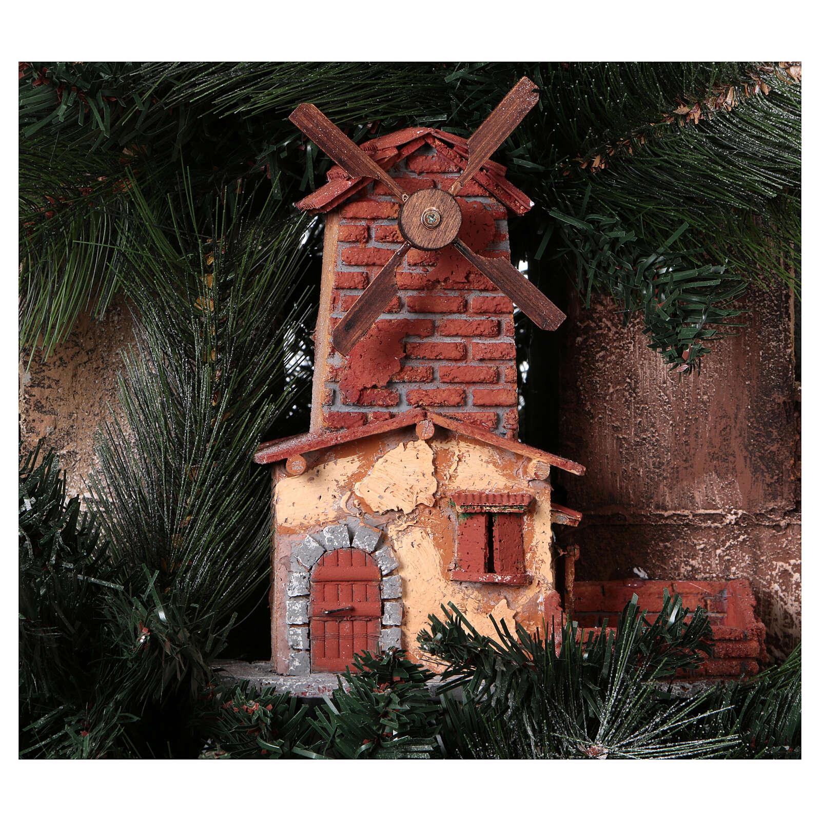 Neapolitan nativity Christmas tree village 150 cm 8 cm figures 4
