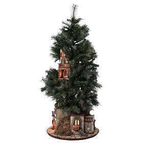 Neapolitan nativity Christmas tree village 150 cm 8 cm figures s7