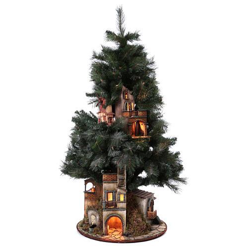 Neapolitan nativity Christmas tree village 150 cm 8 cm figures 1