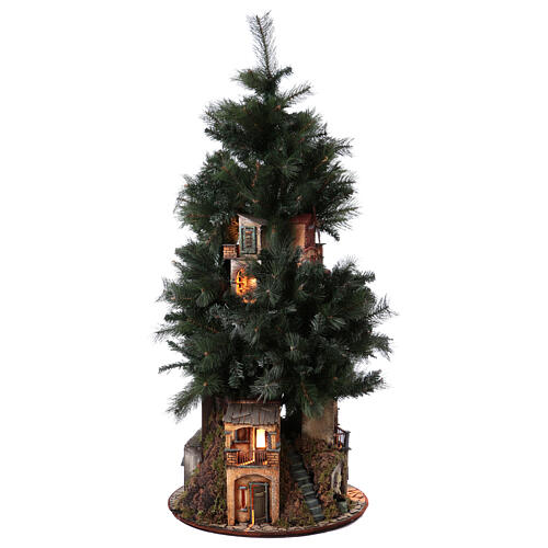 Neapolitan nativity Christmas tree village 150 cm 8 cm figures 3