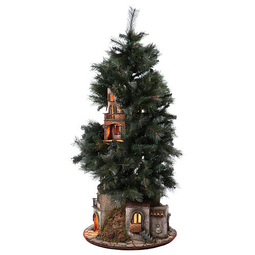 Neapolitan nativity Christmas tree village 150 cm 8 cm figures 7