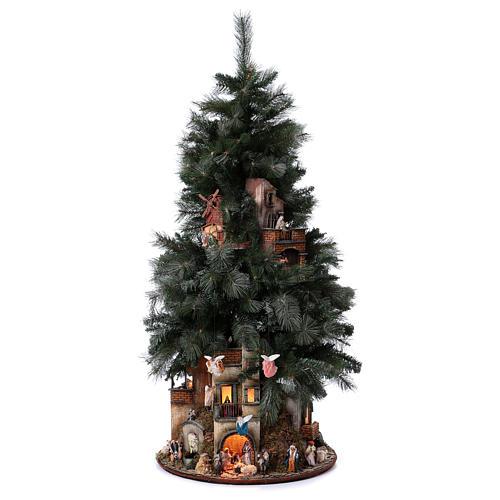 Presépio-Árvore de Natal 150 cm figuras altura média 8 cm Presépio Napolitano 1