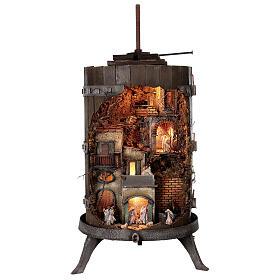 Torchio vinario 85x45 cm completo di statuine 6 cm presepe napoletano s1
