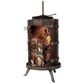 Torchio vinario 85x45 cm completo di statuine 6 cm presepe napoletano s3