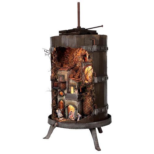 Torchio vinario 85x45 cm completo di statuine 6 cm presepe napoletano 3