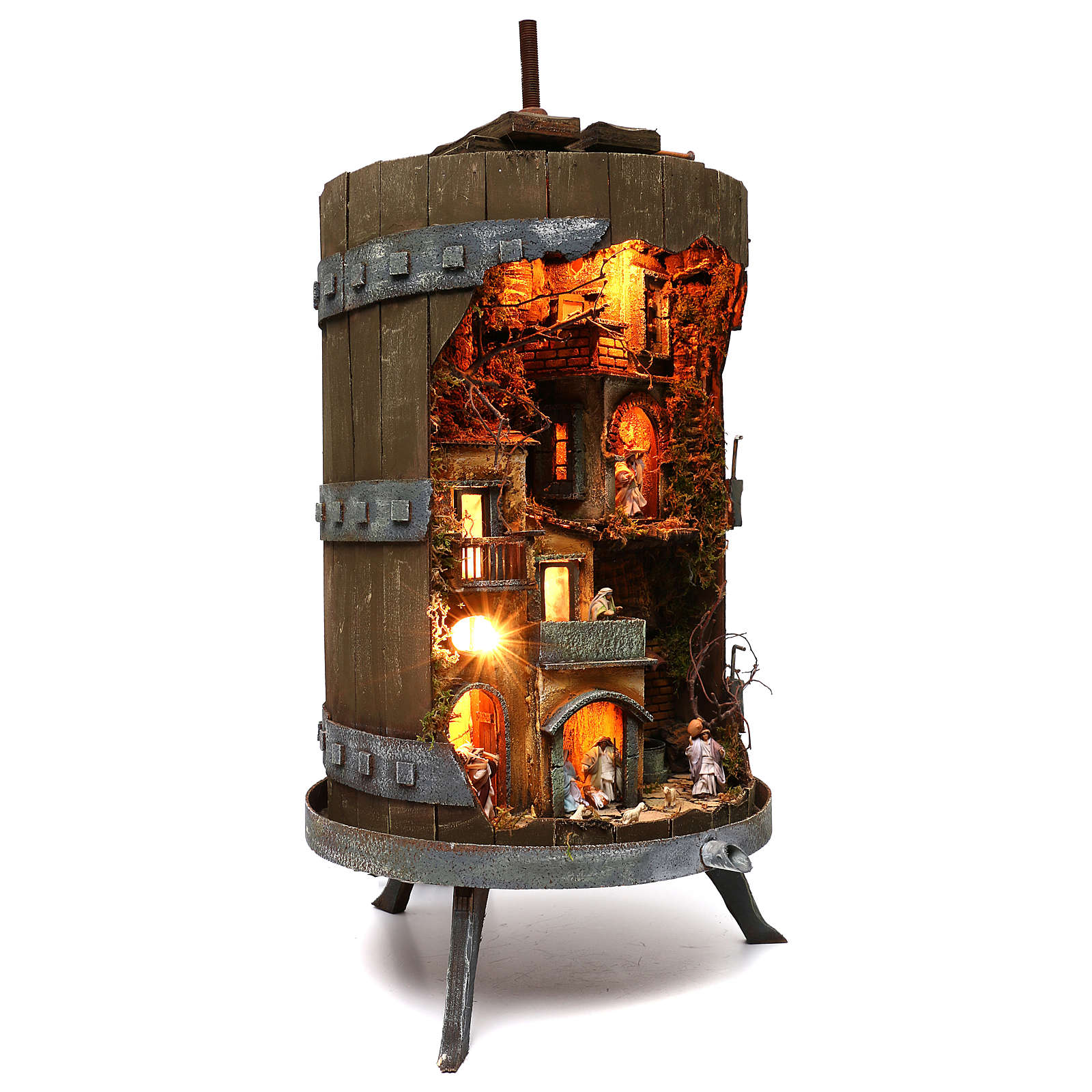 Wine press with complete 6 cm nativity statues, Neapolitan nativity 4