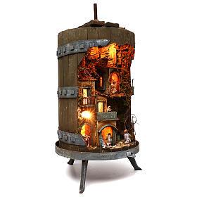Wine press with complete 6 cm nativity statues, Neapolitan nativity s3