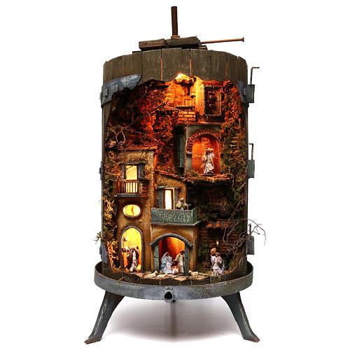Wine press with complete 6 cm nativity statues, Neapolitan nativity 1