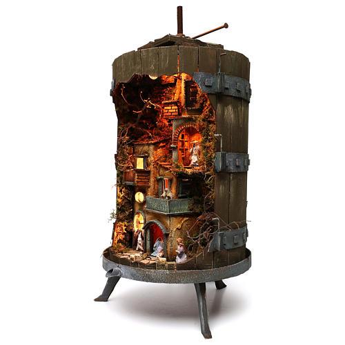 Wine press with complete 6 cm nativity statues, Neapolitan nativity 2