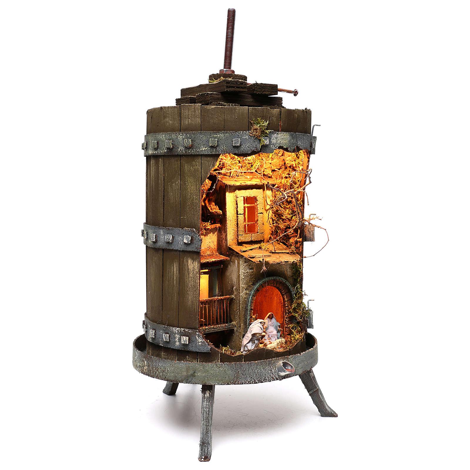 Torchio con presepe napoletano 6 cm illuminato dimensioni 70x35 cm 4