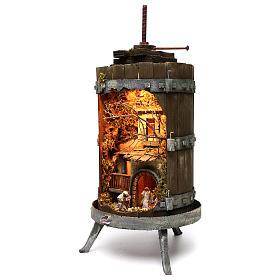 Torchio con presepe napoletano 6 cm illuminato dimensioni 70x35 cm s2