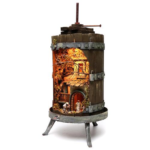 Torchio con presepe napoletano 6 cm illuminato dimensioni 70x35 cm 2
