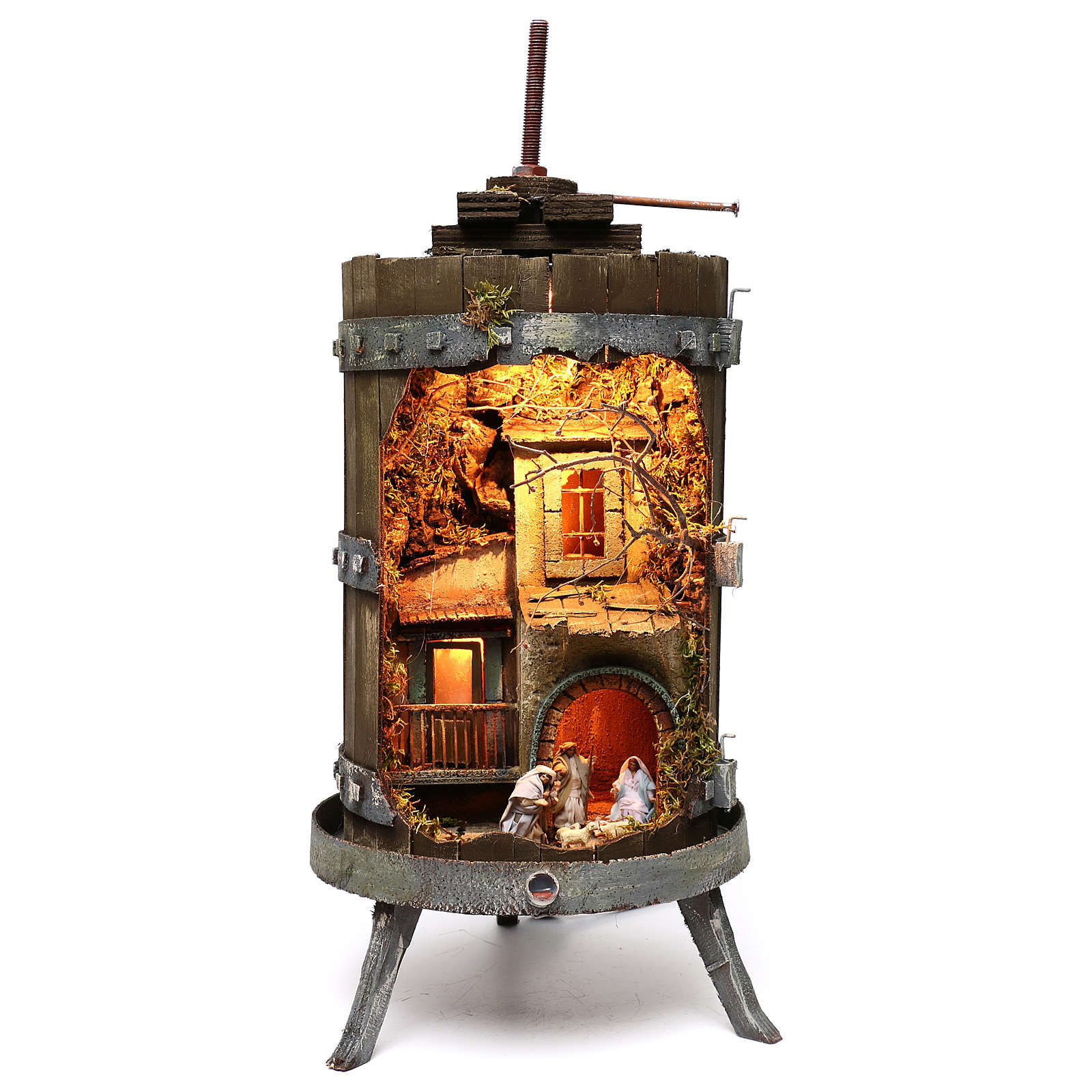 Wine press with lighted Neapolitan nativity 6 cm dimension 70x35 cm 4