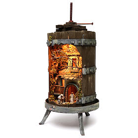 Wine press with lighted Neapolitan nativity 6 cm dimension 70x35 cm s2