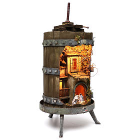 Wine press with lighted Neapolitan nativity 6 cm dimension 70x35 cm s3