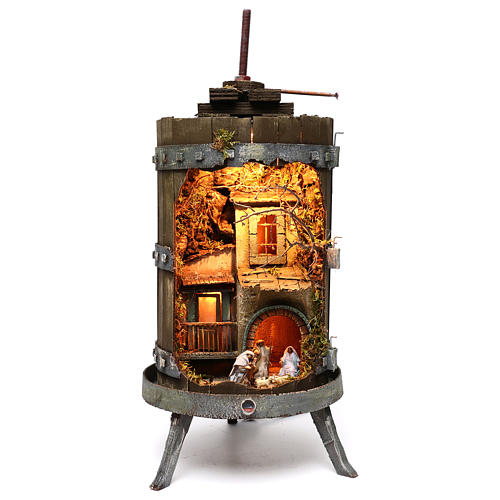 Wine press with lighted Neapolitan nativity 6 cm dimension 70x35 cm 1