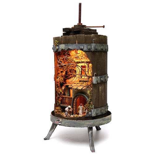 Wine press with lighted Neapolitan nativity 6 cm dimension 70x35 cm 2