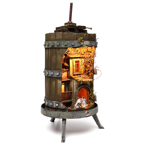 Wine press with lighted Neapolitan nativity 6 cm dimension 70x35 cm 3