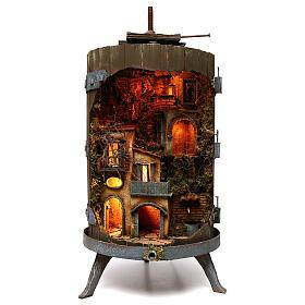 Lighted wine press for 6 cm Neapolitan nativity figurines 85x45 cm s1