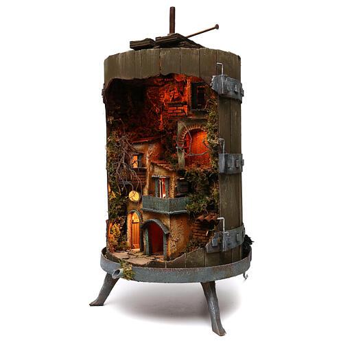Lighted wine press for 6 cm Neapolitan nativity figurines 85x45 cm 2