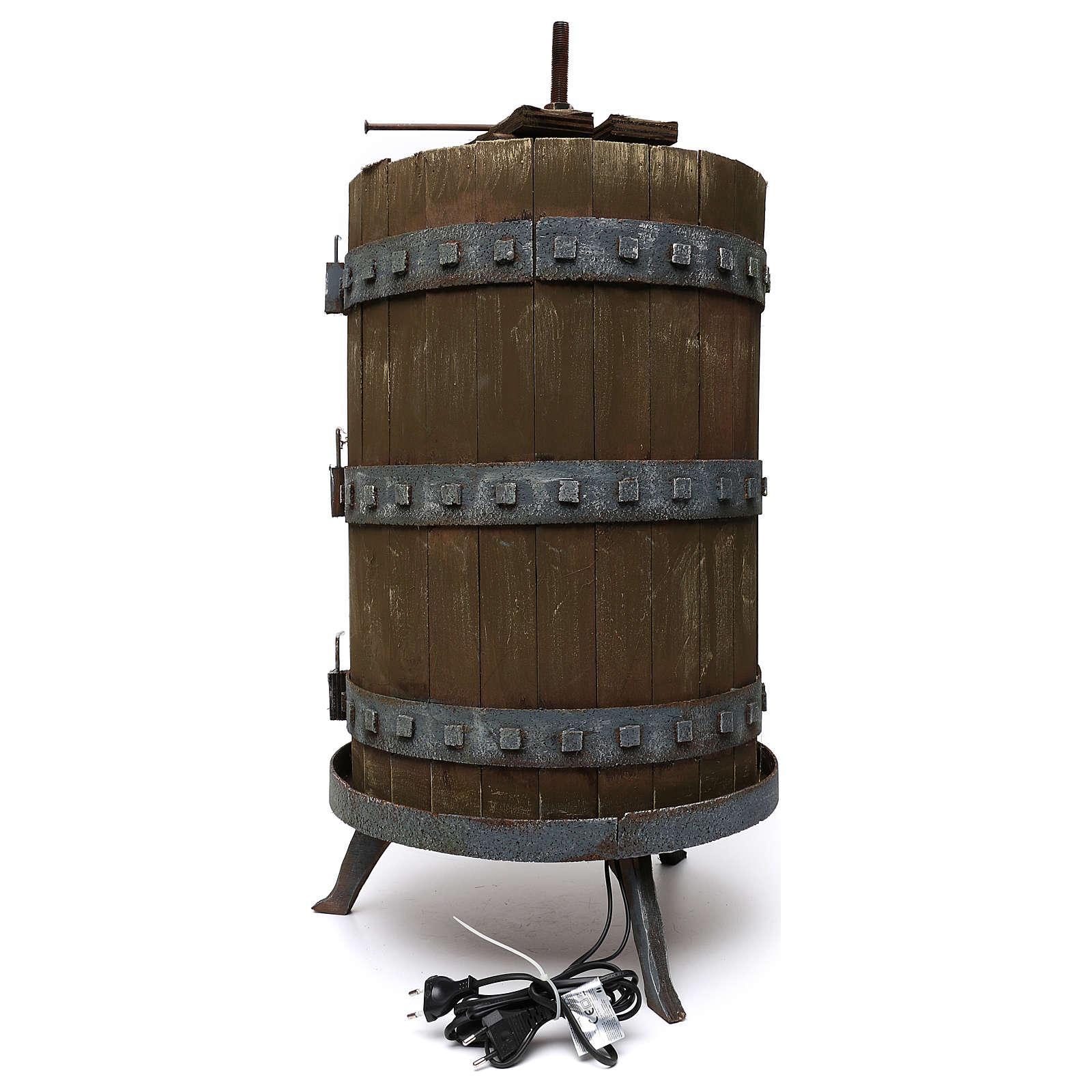 Prensa para vino iluminada 85x45 cm belén iluminado para estatuas 6 cm 4