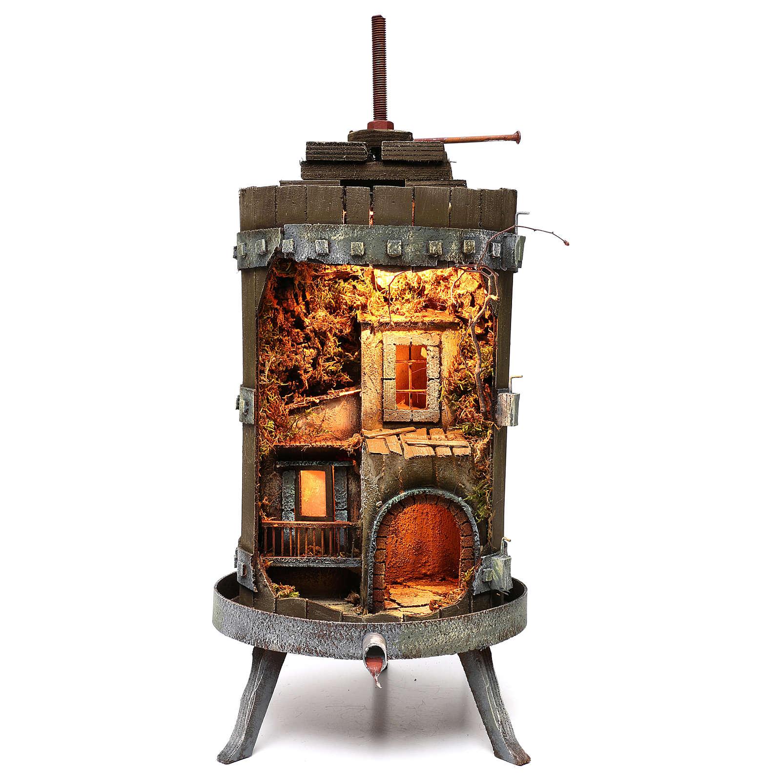 Torchio in legno presepe napoletano 70x35 cm per statuine 6 cm 4
