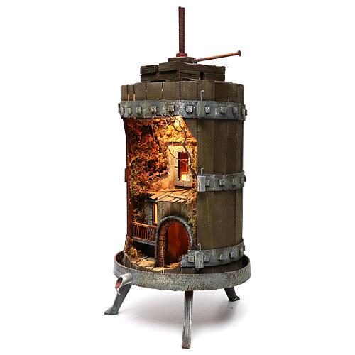 Torchio in legno presepe napoletano 70x35 cm per statuine 6 cm 2