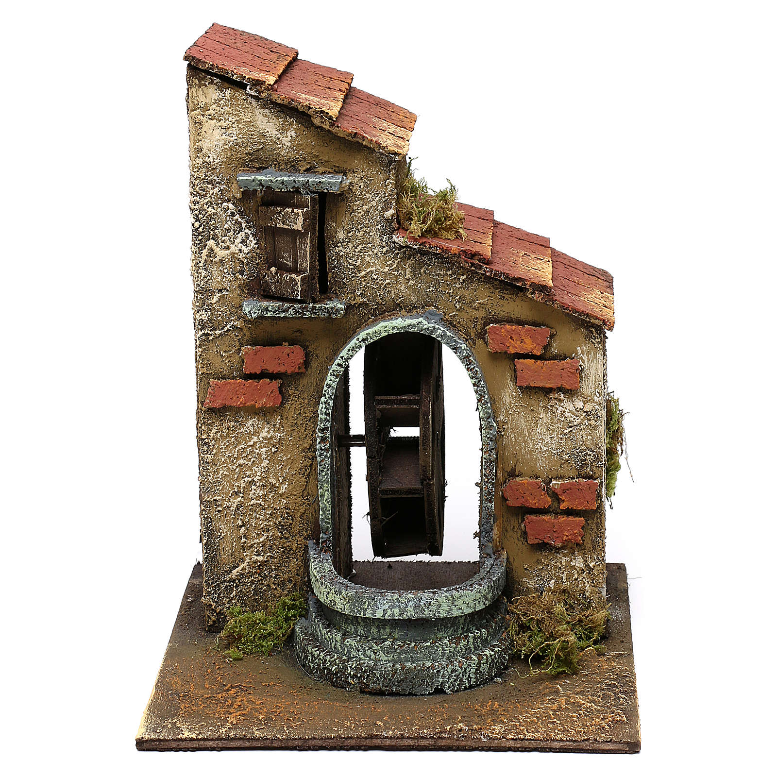 Neapolitan Nativity scene, moving water mill 20x15x20 cm 4