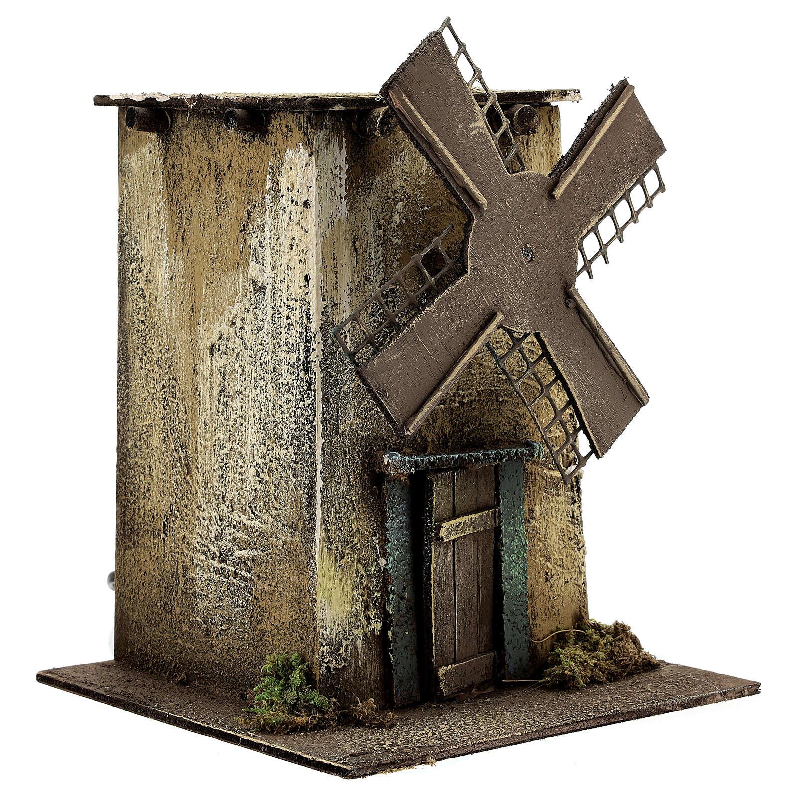 Neapolitan Nativity scene, moving windmill 25x15x25 cm 4
