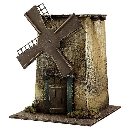 Neapolitan Nativity scene, moving windmill 25x15x25 cm 2