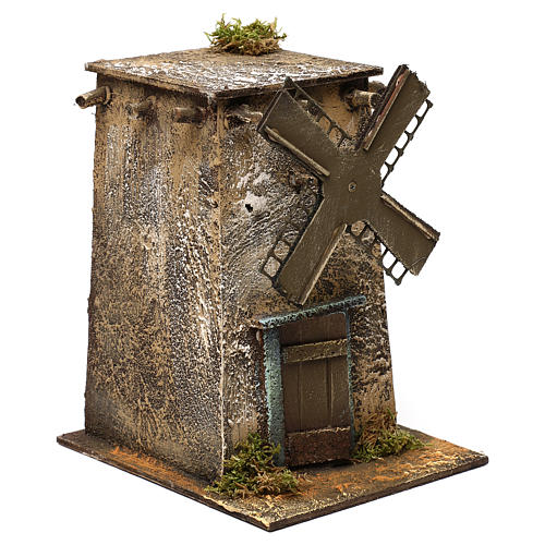 Neapolitan Nativity scene, windmill with square base 20x15x20 cm 3